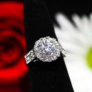 Jewelry - 925 14KT Gold Dipped White Topaz Halo Engagement